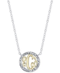 Unwritten Initial 'C' Pendant Necklace With Crystal Pave Circle In Sterling Silver And Gold Flash Two Tone