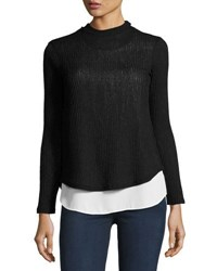 Casual Couture Mock Neck Back Lace Up Top Black Pattern