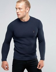 Farah Jumper With Honeycomb Texture In Slim Fit Navy Navy
