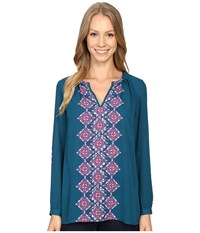 Hatley Pleated Neckline Blouse Morrocan Teal Women's Blouse Blue