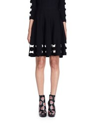 Alexander Mcqueen Knit Bow Trim Skirt Black White Black White