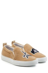 Joshua Sanders Felted Wool Slip On Sneakers Camel