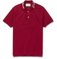 Gucci Slim Fit Stretch Cotton Pique Polo Shirt Burgundy