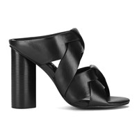 Senso Women's Xanthe I Leather Strappy Mule Sandals Ebony Black