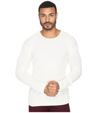 John Varvatos Waffle Stitch Long Sleeve Drop Shoulder Crew Neck Sweater Y1231s4b Salt Men's Sweater White