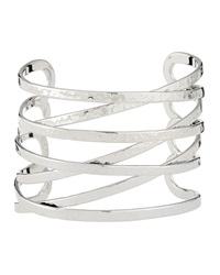 Lydell Nyc Hammered Cuff Bracelet Silvertone