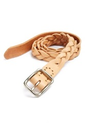 Billykirk Leather Braided Belt Beige