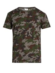 Saint Laurent Camouflage Print Cotton Jersey T Shirt Green Multi
