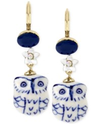 Betsey Johnson Gold Tone Blue And White Ceramic Owl Drop Earrings