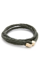 Miansai Ipsum Wrap Bracelet Gold Hunter Green