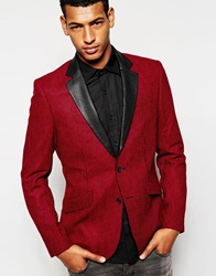 Antony Morato Dogtooth Blazer With Faux Leather Lapel In Slim Fit Red