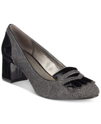 Bandolino Odonna Block Heel Pumps Grey Mini Herringbone