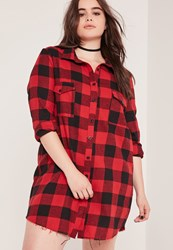Missguided Plus Size Frayed Checked Shirt Dress Red