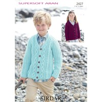 Sirdar Supersoft Aran Cable V Neck Cardigan Knitting Pattern 2427