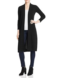 Aqua Cashmere Long Open Cashmere Cardigan Black