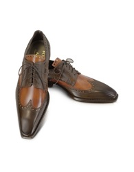 Forzieri Two Tone Italian Handcrafted Leather Wingtip Oxford Shoes Brown