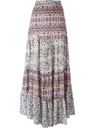 See By Chloe See By Chloe Boho Floral Print Maxi Skirt Pink And Purple