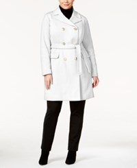 Inc International Concepts Plus Size Double Breasted Coat Only At Macy's Washed White