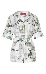 For Restless Sleepers Temi Short Sleeve Shirt White Grey Green