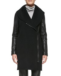 Vince Leather Sleeve Shawl Collar Coat Black