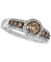 Le Vian Chocolatier Chocolate And White Halo Diamond Ring 3 4 Ct. T.W. In 14K White Gold No Color