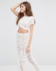Honey Punch Cropped T Shirt With Sheer Lace Paisley Print Co Ord Cream