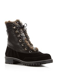 Stuart Weitzman Forest Faux Fur Leather And Velour Lace Up Booties Nero