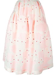 Simone Rocha Floral Brocade Full Skirt Pink And Purple
