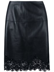 Lanvin Lace Hem Pencil Skirt Black
