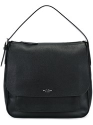 Smythson 'Burlington' Hobo Tote Black