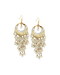 Chamak By Priya Kakkar Half Moon Chandelier Earrings White