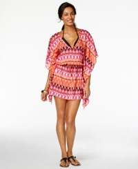 Kenneth Cole Reaction Tribal Print Cover Up Women's Swimsuit Pink Glow
