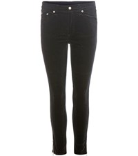 Rag And Bone 10 Inch Zipper Capri Velvet Trousers Black