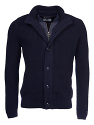 Barbour Helm Button Through Wool Cardigan Navy