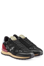 Valentino Rockstud Sneakers With Leather And Lace Multicolor