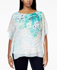 Jm Collection Woman Jm Collection Plus Size Printed Butterfly Sleeve Blouse Only At Macy's