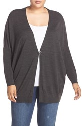 Sejour Plus Size Women's Dolman Sleeve Merino Blend Cardigan Grey Dark Charcoal Heather