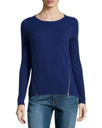 Design History Cashmere Blend Zip Detailed Sweater Ultramarine