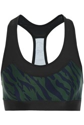 The Upside Chrissy Printed Stretch Jersey And Mesh Sports Bra Emerald