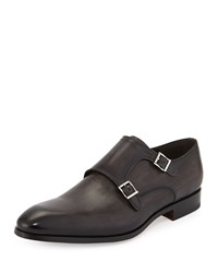 Magnanni Leather Double Monk Loafer Gray