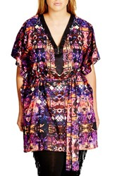 City Chic Plus Size Women's 'Tribal Trim' Print Belted V Neck Tunic