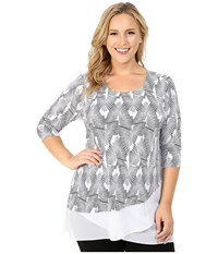 Vince Camuto Plus Size 3 4 Sleeve Graphic Strip Top With Asymmetrical Chiffon Hem Ultra White Women's Clothing