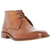 Bertie Condor Contrast Stitch Leather Chukka Boots Tan
