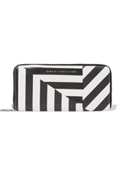 Marc By Marc Jacobs Striped Textured Leather Wallet Black