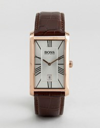 Boss By Hugo Admiral Classic Leather Square Watch Brown