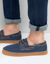 Asos Boat Shoes In Navy With Gum Sole Navy