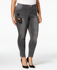 Mblm By Tess Holliday Trendy Plus Size Gray Wash Ripped Skinny Jeans Medium Grey