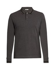 Moncler Logo Applique Long Sleeved Polo Shirt Grey Multi