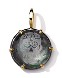Black Sterling Silver And 18K Gold Intaglio Skull Charm Black Shell Doublet Ippolita