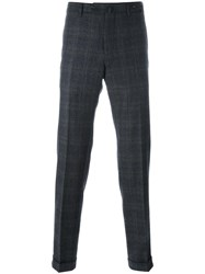 Pt01 Straight Plaid Trousers Blue